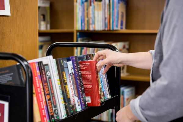 A selection of books on a library cart
