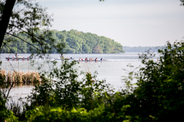 Team rowing on lake in distance